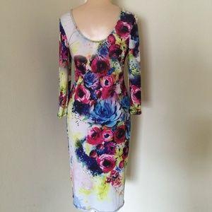 Ktoo Printed Sexy Floral Bodycon Midi Dress